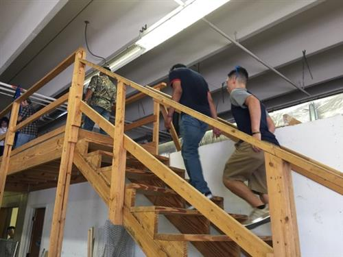 Students prepare classroom for construction projects